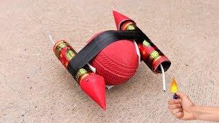 Ball VS 2 Rockets | बॉल की चकरी बन गई | Top Awesome Diwali Experiment