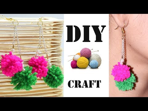How to Make Beautiful Earrings with Wool Thread / Yarn at Home | DIY Jewellery