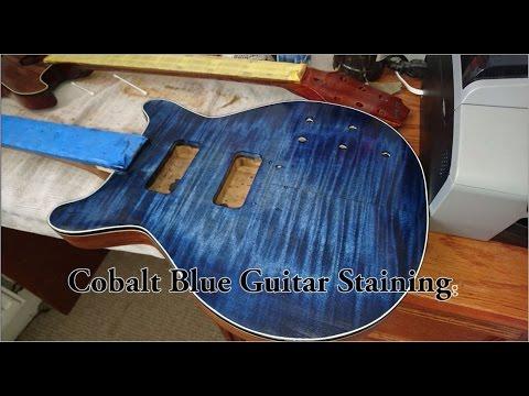 Staining flamed maple guitar body Cobalt Blue full video