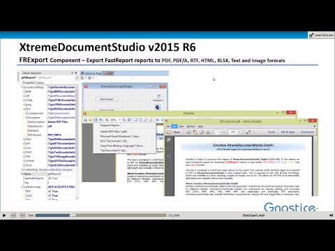 Export FastReport reports to PDF, RTF, plain text and image formats using Delphi