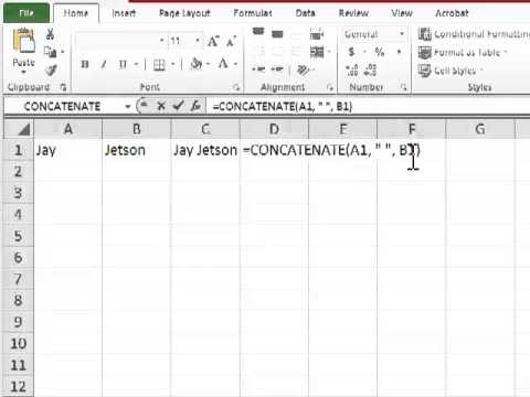 Excel 2010: How To Concatenate Two Cells Into One-Tutorial Tips and Tricks