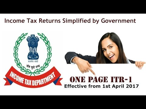 New Income Tax Returns A.Y. 2017-18 / Aadhar Number Mandatory / One page ITR - 1