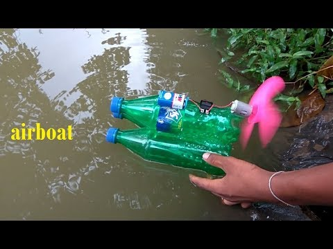 How to make a Powerful Electric Air Boat using 3 sprite bottle \very easy
