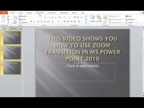 How to use Zoom Transitions in MS Power Point