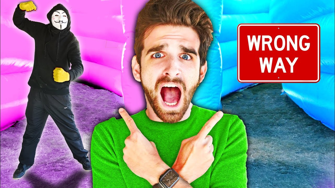 HACKERS TRAP ME in MAZE! Spending 24 Hours in Worlds Largest Bounce House vs Hide and Seek Challenge