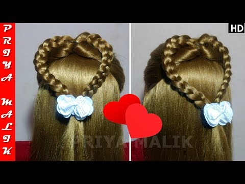 Valentine's Day Special Hairstyles - Braided Heart Hairstyle | Easy Hairstyle Tutorial | Priya Malik