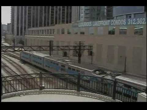Metra electric line train leaving Chicago