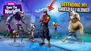 DEFENDING THE SHIELD ALL ALONE!! | Fortnite: Save The World PvE [Ep 5]