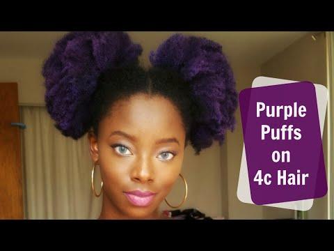 Purple puffs on 4c natural hair *no bleach*