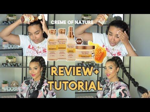 Creme of Nature Pure Honey REVIEW and JUMBO Braid TUTORIAL
