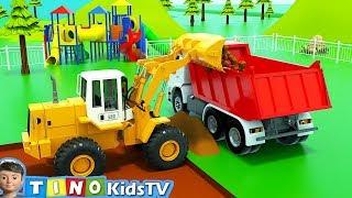 Bulldozer, Wheel Loader and Dump Trucks for Kids | Playground Repair for Children