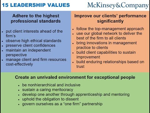 15 LEADERSHIP VALUES AT MCKINSEY via Dominic Barton