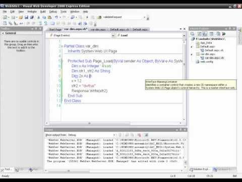 Basic ASP.Net with VB.Net ตอนที่ 4 (ตัวแปร)