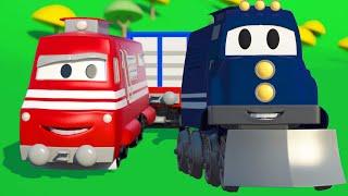 Carl el Camión Transformador y el Tren en Auto City | Dibujos animados para niños
