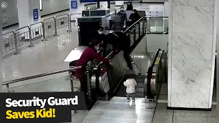 Security guard hops over handrail to stop toddler from falling down escalator