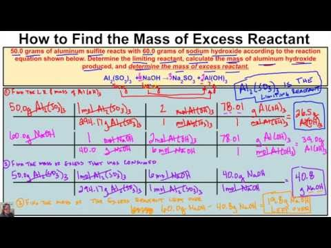 How to Calculate the Mass of Excess Reactant Left Over in a Chemical Reaction