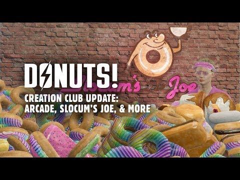 Donuts! Creation Club Update: Slocum's Joe & Arcade Workshop Packs, New Power Armor Paint, & More