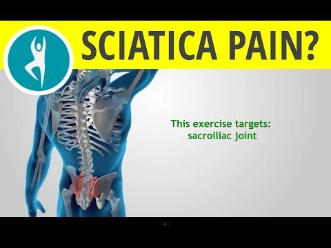 Stretching exercise for sciatic pain from sacroiliac joint dysfunction: Lumbar rotation - knee sways