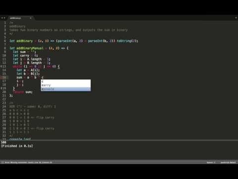 JavaScript (ES6) - Algorithms - (addBinary) - adds two binary numbers together