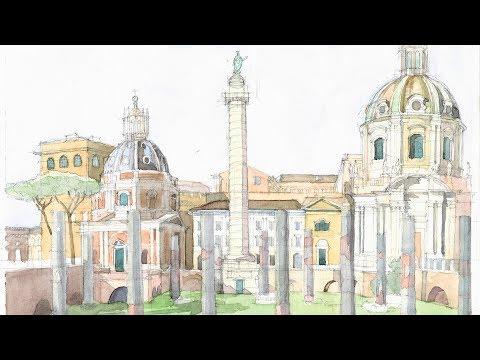 Monuments in Watercolor Ep # 08 Trajan's Column (Rome, Italy)