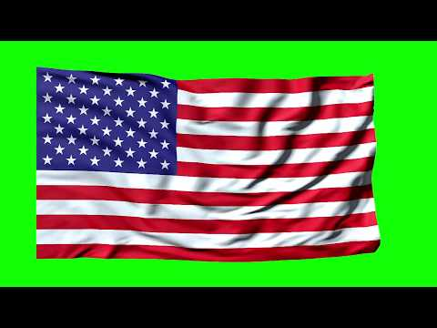 American Flag waving Stars and Stripes green screen [720P] 3D animation