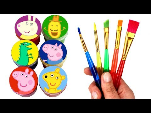 Peppa Pig Drawing & Painting with Surprise Toys Peppa Teddy George Mr Dinosaur Mr Potato Miss Rabbit