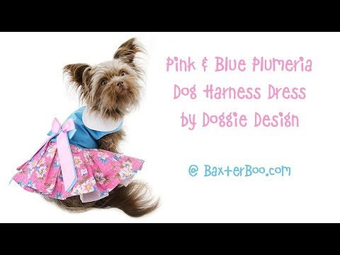 Pink and Blue Plumeria Dog Harness Dress by Doggie Design - Small