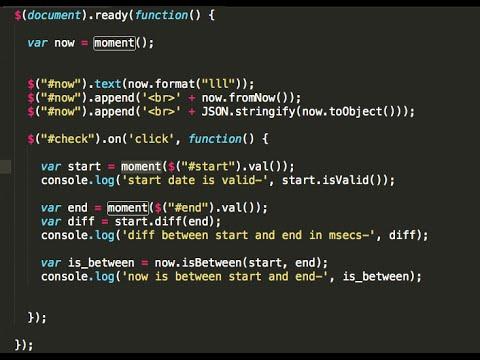 JavaScript date manipulation using moment.js