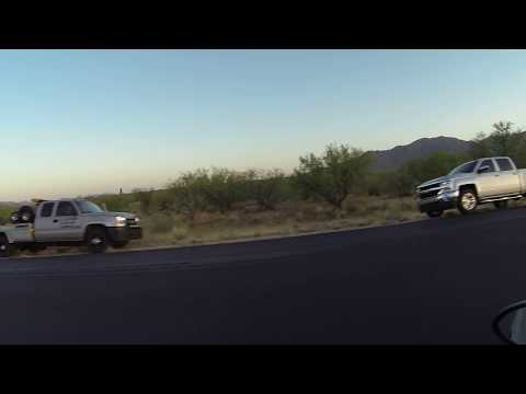 Tow Truck Driver hooks up White Chevrolet Tahoe, AZ-86 on Indian Reservation, 21 May 2018, GOPR1960