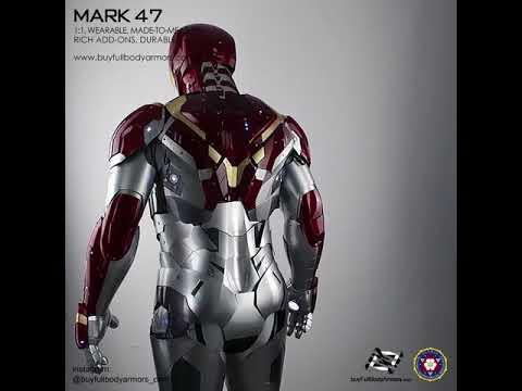 wear Iron Man Mark 47 46 armor costume suit full body top 2