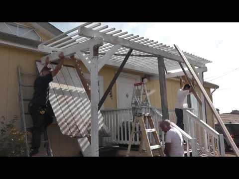Setting Up A Trellis / Pergola / Porch Roof Shade & Getting Hit In The Head