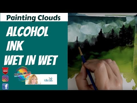 Wet in Wet Alcohol Ink Art Painting Techniques for Clouds Using Snowcap