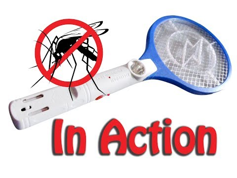 Electric mosquito killer racket in action
