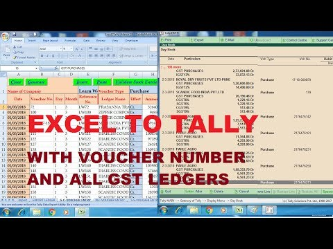 Excel to Tally - Purchase - With voucher numbers and all GST Ledgers