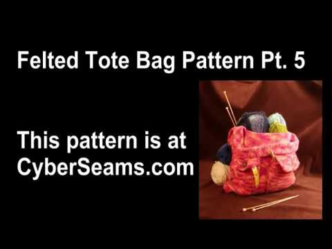 Knitted Felted Tote Bag Part 5 - Lining the Bag & Pockets
