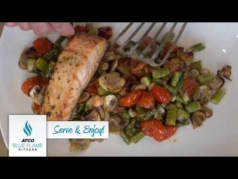 Roasted Salmon with Asparagus, Grape Tomatoes and Mushrooms