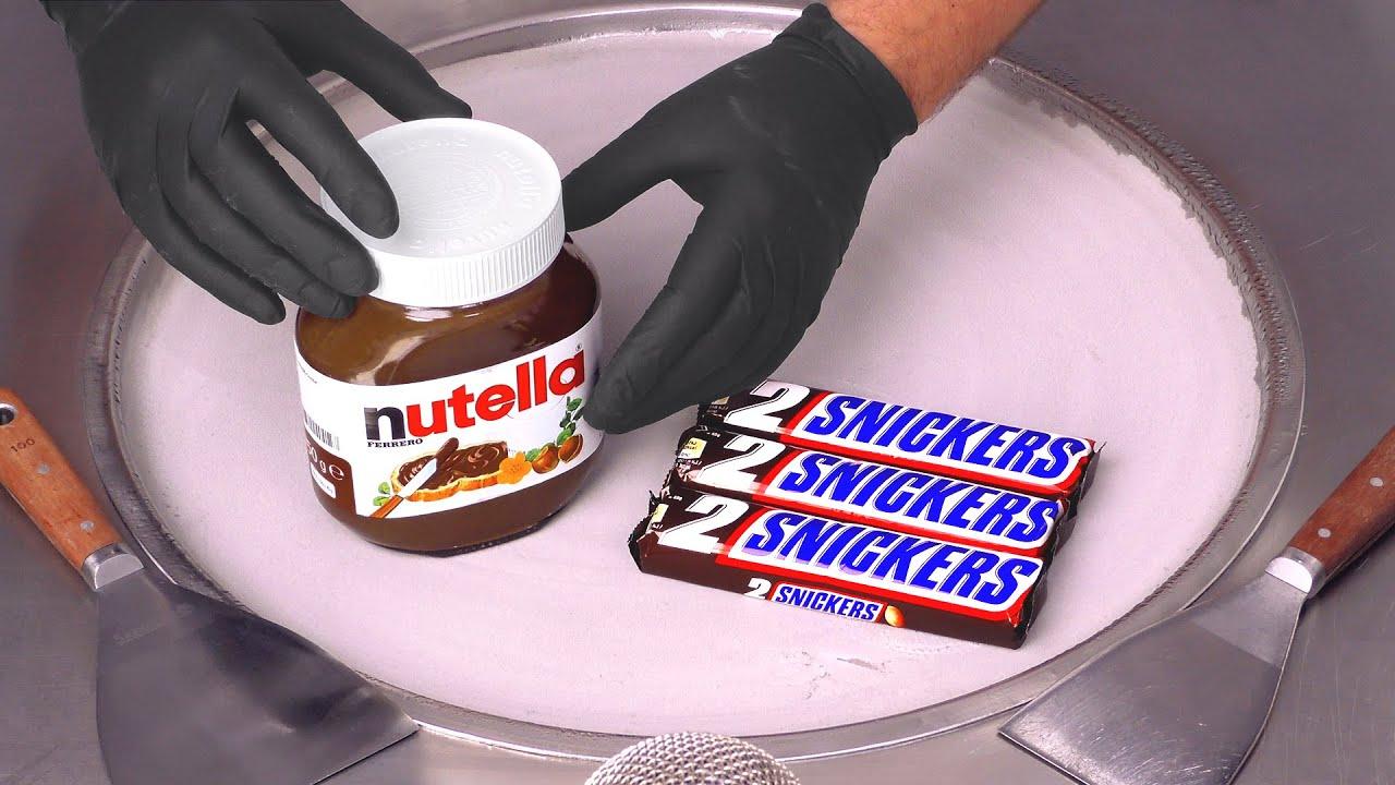 Nutella & Snickers - Ice Cream Rolls   ASMR