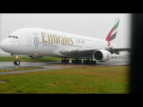 Emirates A380 departing Manchester Airport