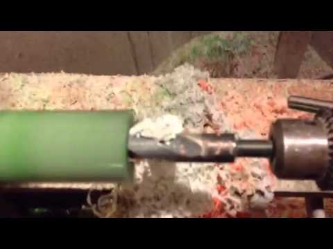 Drilling out a custom goose call blank
