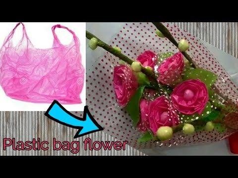 DIY II  Waste Plastic bag Flower bouquet for Valentine's day