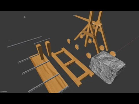 How To Build a Catapult - Trebuchet Model (Pieces, Blender Model) Part 2