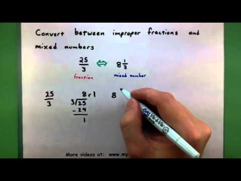 Basic Math - Convert between improper fractions and mixed numbers