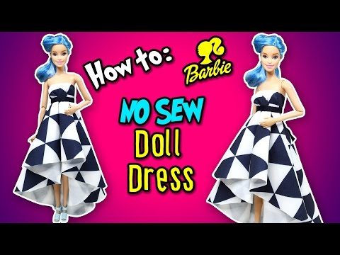 How to Make No Sew Doll Dress / Gown - DIY Barbie Clothes - Making Kids Toys