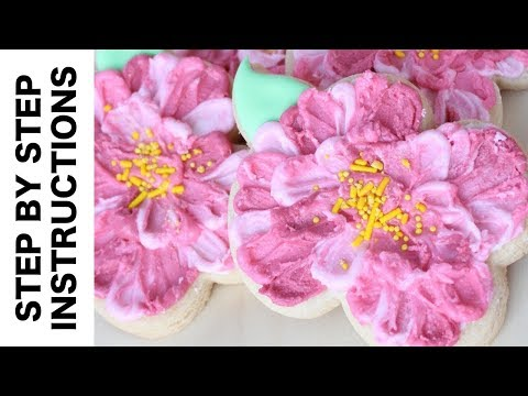 Flower Cookies with Spatulas Painting Technique - Whimsical Royal Icing Flower Cookies