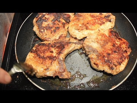 How to BBQ Bone in Pork Chops in a Frying Pan ~ Easy