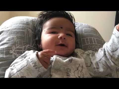 Cute 7 weeks old baby laughing