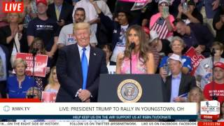 First Lady MELANIA TRUMP Introduces President Trump at Youngstown Rally 7/25/17
