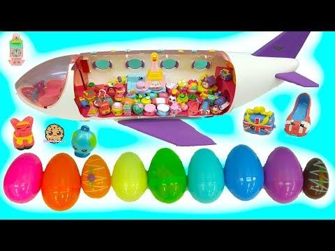 World Vacation Season 8 Shopkins Inside Surprise Eggs Board Airplane - Toy Video