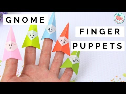 How to Fold an Origami Gnome Finger Puppet - Paper Finger Puppets Paper Crafts for Kids