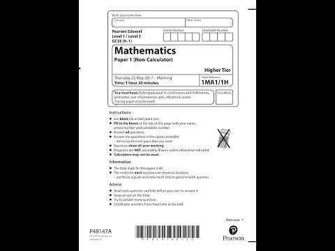 Edexcel GCSE 9-1 Math - Non-Calculator Question Paper 1H - June 2017